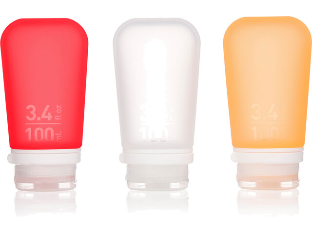 humangear GoToob+ 3-Pack Large 100ml Clear/Orange/Red